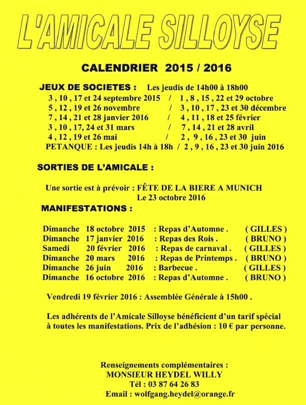 Amicale Silloyse Calendrier 2015-2016