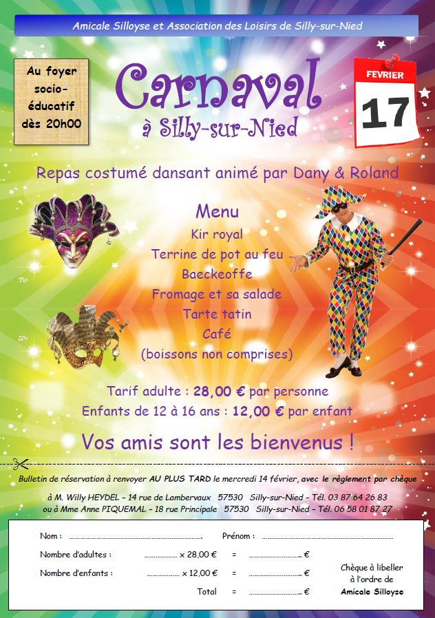 Amicale Silloyse Repas carnaval 2018