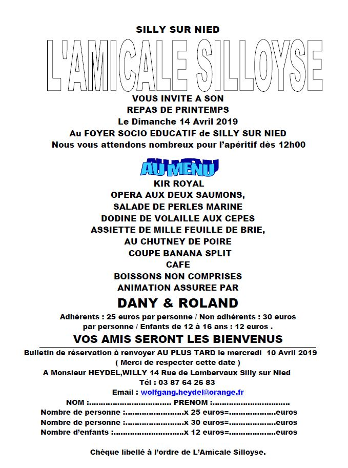 Amicale Silloyse Repas printemps 2019